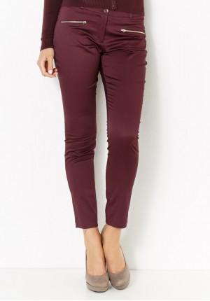 Bordowe Spodnie z suwakami
