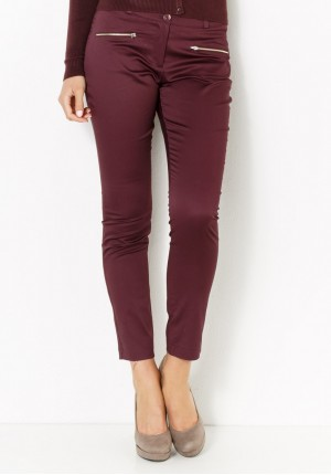 Burgundy Pants with zippers