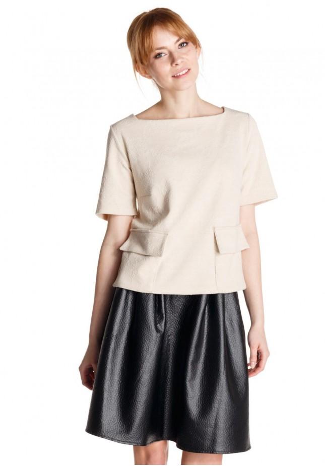 Flared imitation leather Skirt