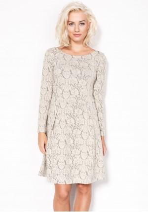 Rozkloszowana beżowa Sukienka