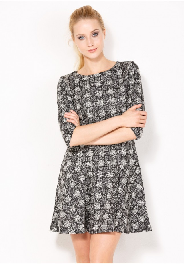 Flared Checkered Dress