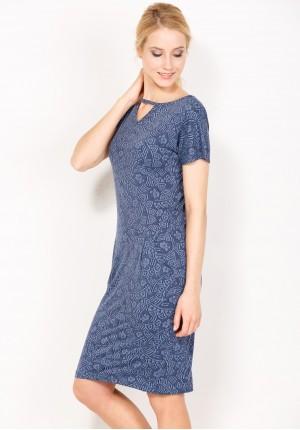 Niebieska wzorzysta Sukienka