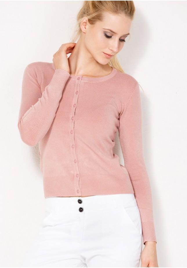 Klasyczny jasnoróżowy Sweter