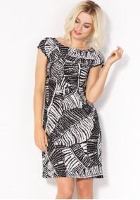 Sukienka w czarno-białe liście