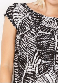 Dress with black and white leaves
