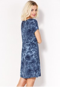 Summer dress with navy blue flowers