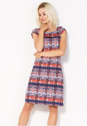 Sukienka 1522 (granatowo-czerwona)