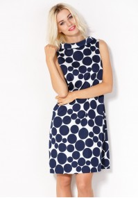 Sukienka 1064 (granatowe groszki)