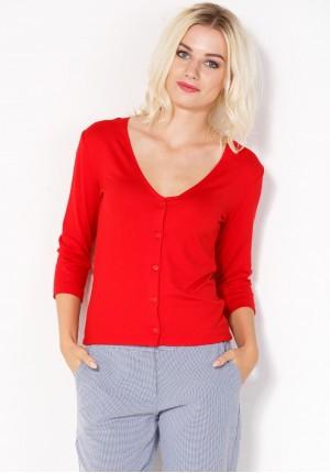 Czerwony Sweter z dekoltem w szpic