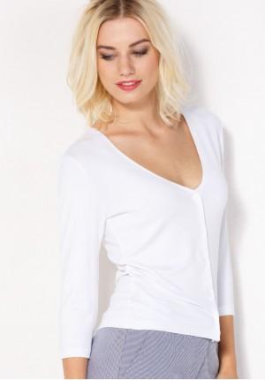 Biały Sweter z dekoltem w szpic