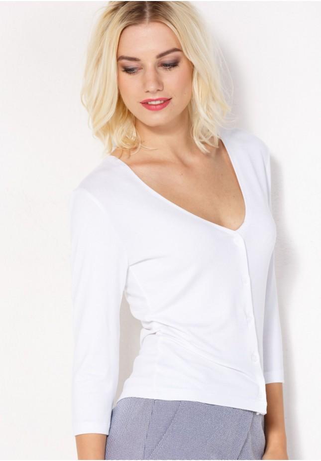 White Sweater with V-neckline