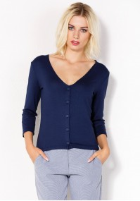 Granatowy Sweter z dekoltem w szpic