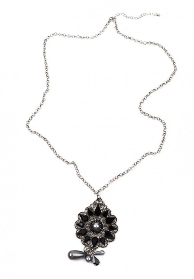 Naszyjnik z czarnym kwiatem