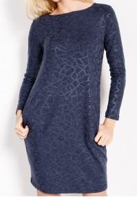 Granatowa Sukienka z połyskiem