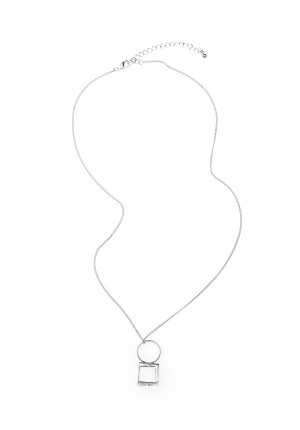 Silver-plated Necklace with a square