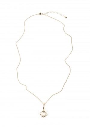Gold-plated Necklace with hexagon