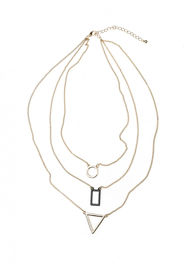Necklace with geometrical pendants