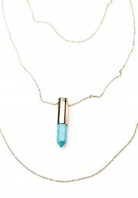 Necklace with a blue pendant