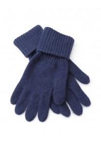 Granatowe Rękawiczki z mankietem
