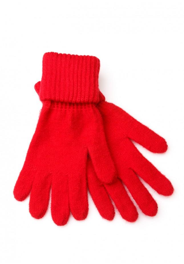 Czerwone Rękawiczki z mankietem