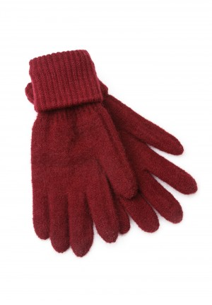 Burgundy Gloves with a cuff