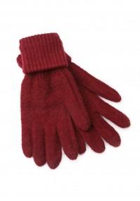 Bordowe Rękawiczki z mankietem