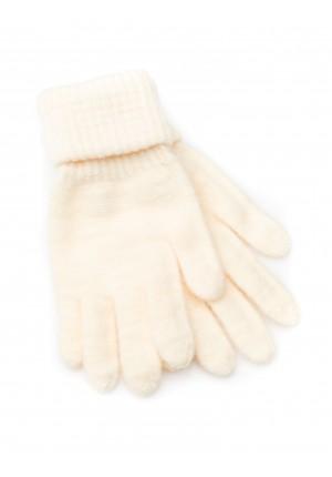 Kremowe Rękawiczki z mankietem