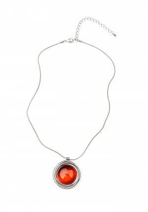 Necklace with orange stone