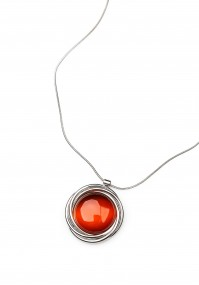 Necklace with orange stone