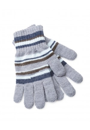 Gloves with blue stripes