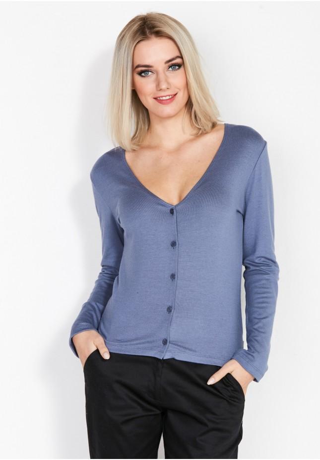 Niebieski Rozpinany Sweter