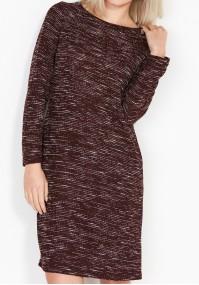 Bordowa Sukienka z kieszeniami