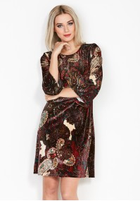 Czerwona Turecka Sukienka z Weluru