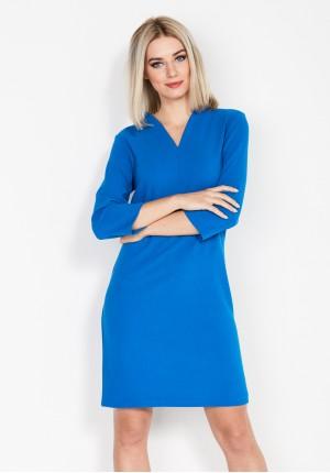 Kobaltowa Sukienka z dekoltem w szpic