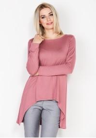 Asymetryczny różowy sweter