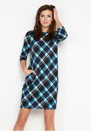 Ciepła niebieska Sukienka z kieszeniami