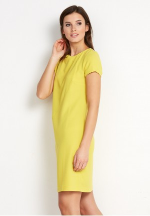 Żółta Sukienka z przeszyciem
