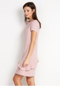Różowa Sukienka z asymetryczną falbaną