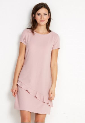 Pink Dress with asymmetrical frill
