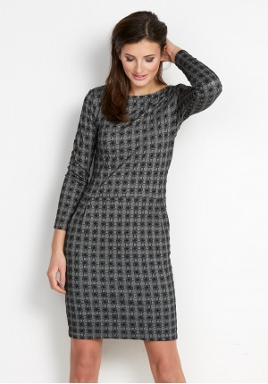 Gray Dress with pockets in irregular check