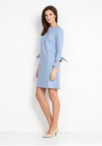Błękitna Sukienka z wiązanym rękawem
