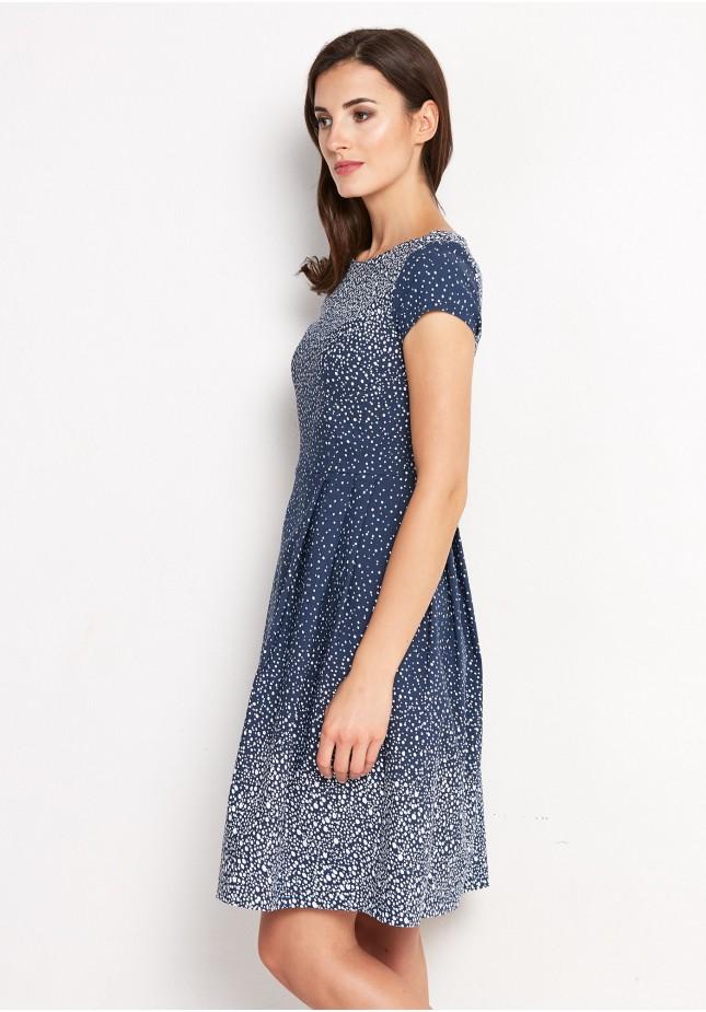 Rozkloszowana marmurkowa Sukienka