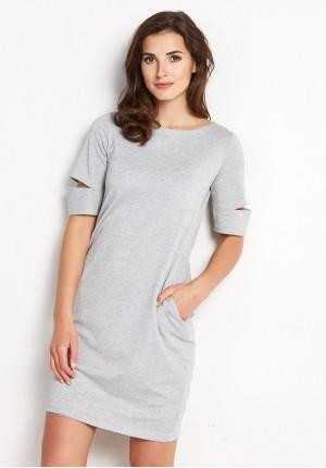 Posrebrzana Sukienka z rozciętymi rękawami