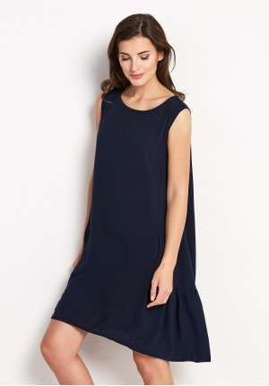 Dark blue Dress with Frill