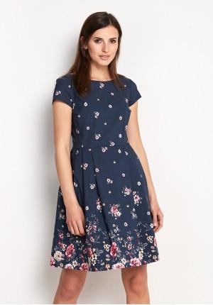 Elegancka odcinana granatowa sukienka