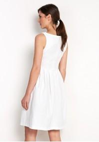 Biała Sukienka z kokardą