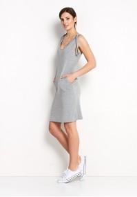 Szara sukienka z wiązaniem