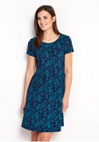 Sukienka 1528 (granatowo-turkusowa)