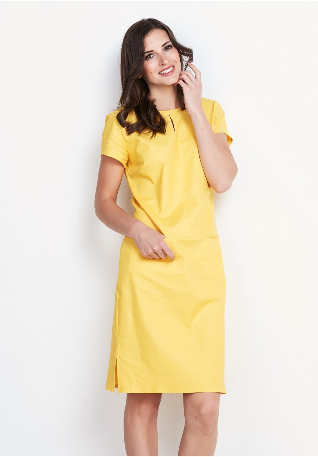 Żółta lniana Sukienka