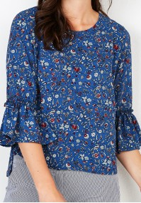 Blue Blouse with flowers